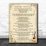 Michael Buble Close Your Eyes Vintage Guitar Song Lyric Print