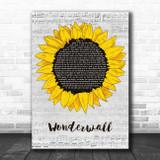 Oasis Wonderwall Grey Script Sunflower Song Lyric Print