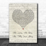 Original Broadway Cast Of Hamilton Who Lives, Who Dies, Who Tells Your Story Script Heart Song Lyric Print
