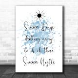 Blue Grease Summer Nights Song Lyric Music Wall Art Print