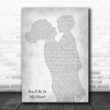 Phil Collins You'll Be In My Heart Mother & Child Grey Song Lyric Print