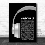 Primal Scream Movin' On Up Grey Headphones Song Lyric Print