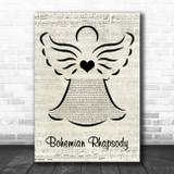 Queen Bohemian Rhapsody Music Script Angel Song Lyric Print