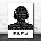 Queen Radio Ga Ga Black & White Man Headphones Song Lyric Print