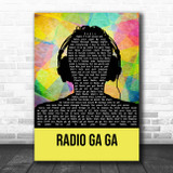 Queen Radio Ga Ga Multicolour Man Headphones Song Lyric Print