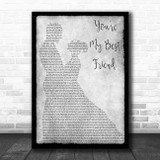 Queen You're My Best Friend Grey Man Lady Dancing Song Lyric Print