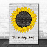 Red Hot Chili Peppers The Zephyr Song Grey Script Sunflower Song Lyric Print
