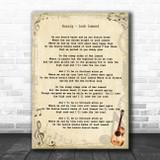 Runrig Loch Lomond Vintage Guitar Song Lyric Print