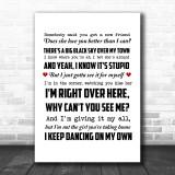Robyn Dancing On My Own Song Lyric Music Wall Art Print