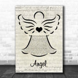 Sarah McLachlan Angel Music Script Angel Song Lyric Print