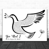 Stevie Wonder You And I (We Can Conquer The World) Black & White Dove Bird Song Lyric Print