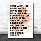 Watercolour White & Black I Said Hip Hop Rappers Delight Song Lyric Music Wall Art Print