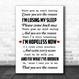 You Are The Reason Calum Scott Song Lyric Music Wall Art Print