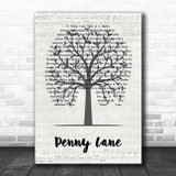 The Beatles Penny Lane Music Script Tree Song Lyric Print