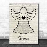 The Killers Human Music Script Angel Song Lyric Print