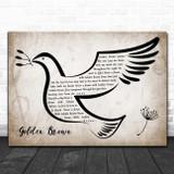 The Stranglers Golden Brown Vintage Dove Bird Song Lyric Print