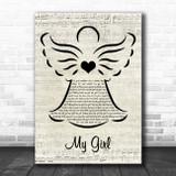The Temptations My Girl Music Script Angel Song Lyric Print