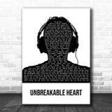 Three Days Grace Unbreakable Heart Black & White Man Headphones Song Lyric Print