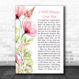 Whitney Houston I Will Always Love You Floral Poppy Side Script Song Lyric Print