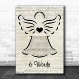 Wretch 32 6 Words Music Script Angel Song Lyric Print