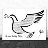 Kris Kristofferson Me and Bobby McGee Black & White Dove Bird Song Lyric Music Art Print