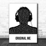 YUNGBLUD Original Me Black & White Man Headphones Song Lyric Music Art Print