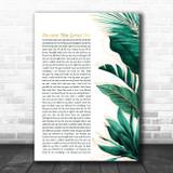 Celine Dion Because You Loved Me Gold Green Botanical Leaves Side Script Song Lyric Music Art Print