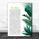 The Lumineers Ho Hey Gold Green Botanical Leaves Side Script Song Lyric Music Art Print