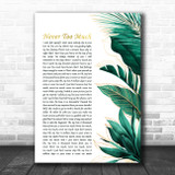 Luther Vandross Never Too Much Gold Green Botanical Leaves Side Script Song Lyric Music Art Print