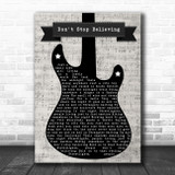 Journey Don't Stop Believing Electric Guitar Music Script Song Lyric Music Art Print