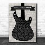 Eagles Hotel California Electric Guitar Music Script Song Lyric Music Art Print