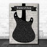 Natasha Bedingfield Unwritten Electric Guitar Music Script Song Lyric Music Art Print