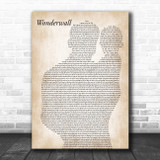 Oasis Wonderwall Father & Baby Song Lyric Music Art Print