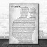 Oasis Wonderwall Father & Baby Grey Song Lyric Music Art Print