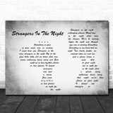 Frank Sinatra Strangers In The Night Man Lady Couple Grey Song Lyric Music Art Print