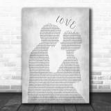 Nat King Cole L-O-V-E Man Lady Bride Groom Wedding Grey Song Lyric Music Art Print