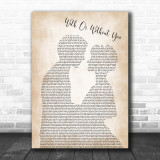 U2 With Or Without You Man Lady Bride Groom Wedding Song Lyric Music Wall Art Print
