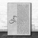 Rihanna Stay Grey Rustic Script Song Lyric Music Art Print