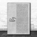Dave Matthews Band Pig Grey Rustic Script Song Lyric Music Art Print