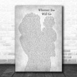 The Calling Wherever You Will Go Mother & Baby Grey Song Lyric Music Art Print