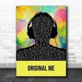 YUNGBLUD Original Me Multicolour Man Headphones Song Lyric Music Art Print