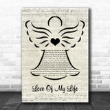 Queen Love Of My Life Music Script Angel Song Lyric Music Art Print