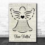Tom Petty Free Fallin' Music Script Angel Song Lyric Music Art Print