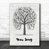Ellie Goulding Your Song Music Script Tree Song Lyric Music Art Print
