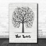 Rush The Trees Music Script Tree Song Lyric Music Art Print