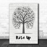 Andra Day Rise Up Music Script Tree Song Lyric Music Art Print