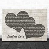 Lionel Richie Endless Love Landscape Music Script Two Hearts Song Lyric Music Art Print