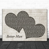 Paolo Nutini Better Man Landscape Music Script Two Hearts Song Lyric Music Art Print