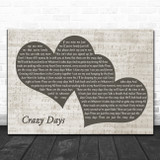 The Shires Crazy Days Landscape Music Script Two Hearts Song Lyric Music Art Print