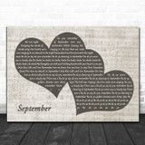 Earth, Wind And Fire September Landscape Music Script Two Hearts Song Lyric Music Art Print